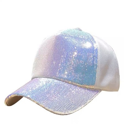 Adult jazz dance sequins baseball hats hiphop gogo dancers stage performance fashion bling cap for unisex