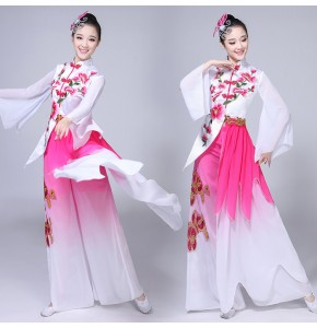 Ancient chinese folk dance costumes for female women pink gradient fairy competition stage performance professional drama cosplay dancing dresses