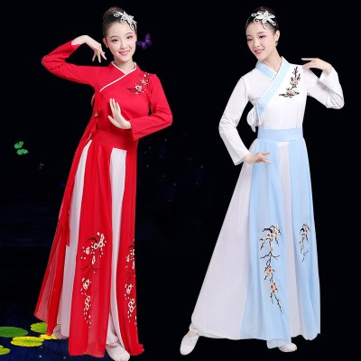 ancient Chinese folk performance dress for women chinese hanfu fairy princess performance dress yangko umbrella dance costumes