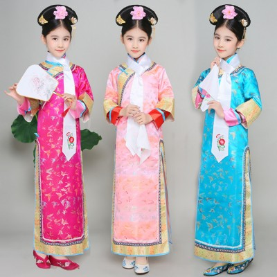 ancient  chinese traditional folk dance costumes children girls opera  drama kids dynasty ming tang han hanfu dress girls child costume