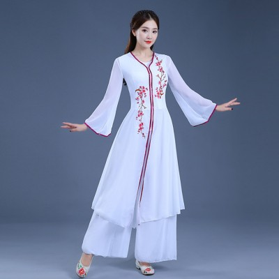 Ancient traditional Chinese folk dance dresses traditional white color fairy princess drama hanfu stage performance costumes