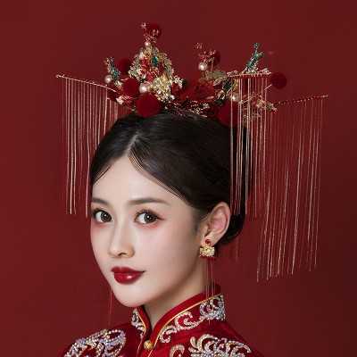 Ancient traditional Chinese style wedding party bridal hair phoenix crown accessories Chinese queen empress cosplay hair accessories