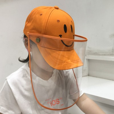baby Orange baseball cap with clear face shield for kids outdoor anti uv virus proof protective hat for girls boys