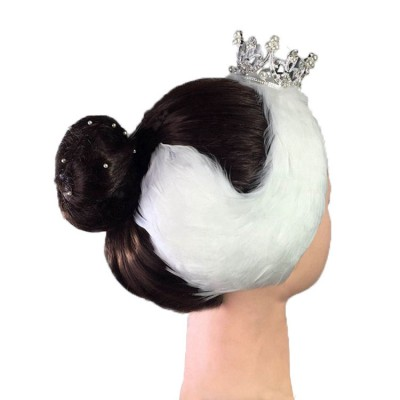 Ballet dance headdress natural feather white black head crown for girls women ballerina competition performance head accesories