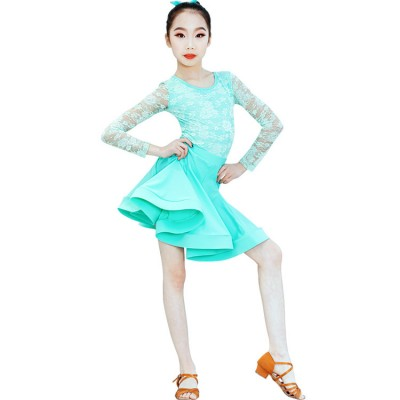 Ballroom dance dresses lace latin dresses long sleeves mint color competition stage performance salsa rumba dancing costumes