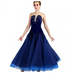 Ballroom dancing dresses female navy stage performance competition waltz tango dresses for women girls professional dancing skirts dress