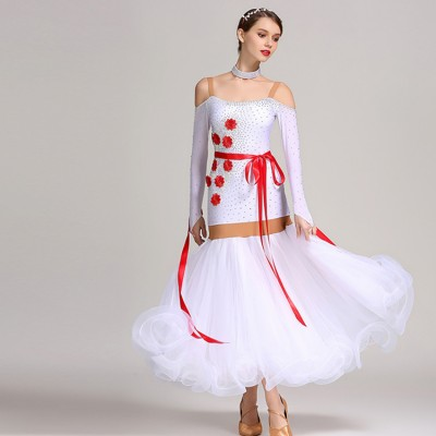 Ballroom dancing dresses for girls women female competition white colored professional waltz tango dancing dresses