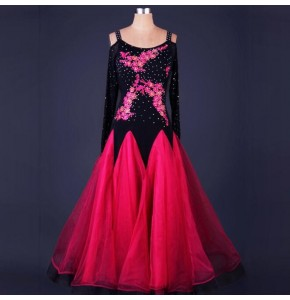 Ballroom dancing dresses for girls women's female pink yellow blue red modern dance stage performance waltz tango dancing skirt dresses