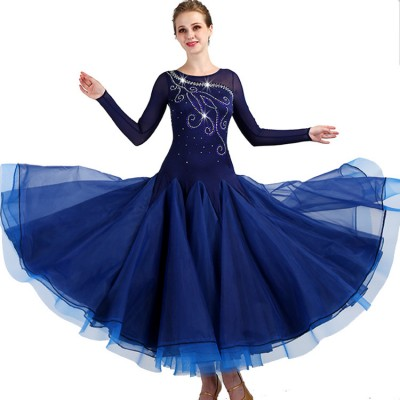 Ballroom  dancing dresses for women navy color waltz tango long sleeves long length diamond competition stage performance dresses