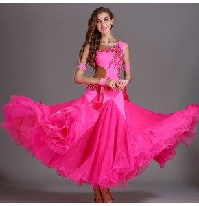 ballroom dancing dresses red fuchsia black royal blue yellow wine colored Women's girls competition ballroom dancing dresses waltz tango dance dress