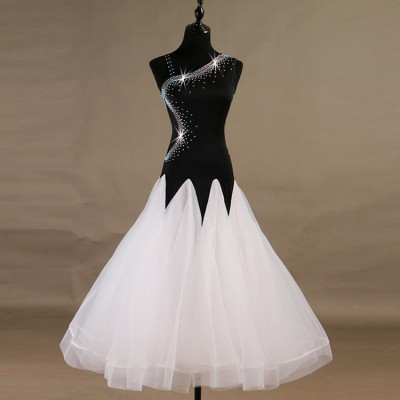 Ballroom dresses for women girls black and white waltz tango long length competition professional dresses stage performance dresses