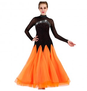 Ballroom dresses for women girls competition black and orange long sleeves diamond stage performance professional waltz tango dancing costumes dresses