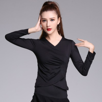 Ballroom latin dance tops for women girls red black competition gymnastics stage performance dancing blouses shirts