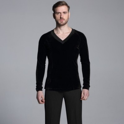 Ballroom latin shirts camicie latine for men's male competition Black velvet long sleeves waltz tango dancing tops