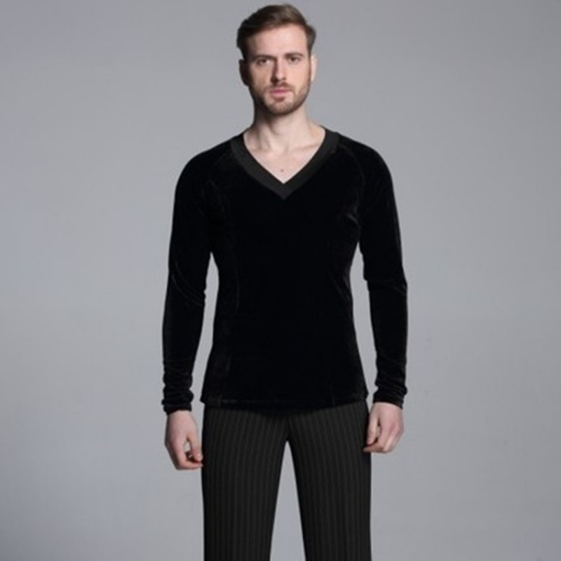 c821c9dd7 Ballroom latin shirts camicie latine for men's male competition Black  velvet long sleeves waltz tango dancing