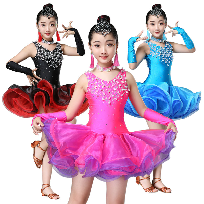 black blue rose Red latin dance dress for girls child latin dance competition dresses girls salsa latin dance costumes girls
