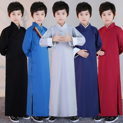 Black Chinese boy's Crosstalk Sketch Storytelling Performance Clothing Long Cotton linen Dress Robe Gown Two Side Kung Fu Tai Chi Tops