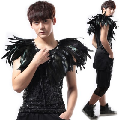 Black feather jazz dance capes men's male competition punk rock night club singers dj rap daning shawl