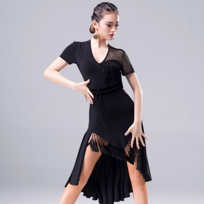 Black fringes latin dresses for  women's female competition professional salsa chacha rumba samba dancing dresses