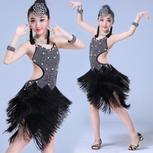 Black girls latin dresses  diamond  fringes competition professional stage performance salsa rumba chacha dance costumes