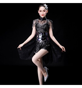 Black jazz dance dresses for women girls competition stage performance modern dance gogo dancers cosplay outfits costumes