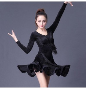 Black latin dresses for women velvet long sleeves competition salsa chacha rumba dancing costumes