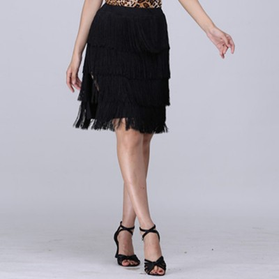 Black layers fringes latin skirts for women's female competition stage performance professional rumba chacha dance skirts