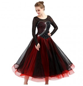 Black red ballroom competition dresses for women diamond stage performance waltz tango chacha rumba dancing long dresses