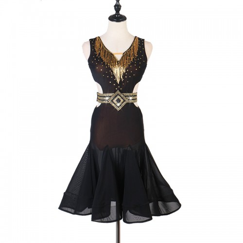 Black with gold fringes diamond competition latin dance dresses for women girls