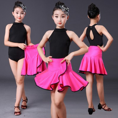Black with pink girls latin dance dresses stage performance rumba samba chacha dance tops and skirts