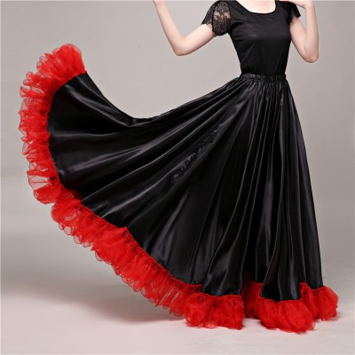Black with red flamenco skirts for women girls opening dance ballroom dance flamenco Spanish folk bull folk dance skirts
