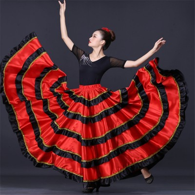 Black with red flamenco skirts for women girls spanish bull dance stage performance skirt (only skirt)