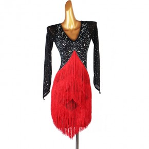 Black with red fringed diamond competition latin dance dresses for women  long sleeves salsa rumba chacha dance dresses