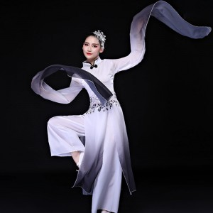 Black with white gradient chinese hanfu yangko costumes for women water sleeves chinese traditional classical fan dance dresses