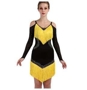 Black with yellow latin salsa rumba chacha dancing dresses costumes tassels diamond long sleeves competition stage performance dress