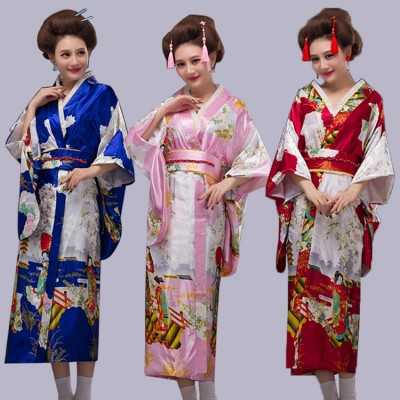 Black Woman Lady Japanese Tradition Yukata Kimono With Obi Flower Vintage Evening Dress Cosplay Costume One size
