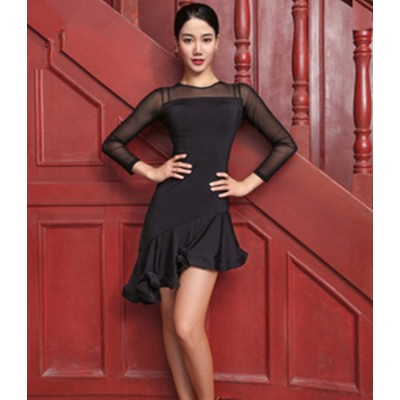 Black women girls latin dance dresses samba chacha rumba dance dresses