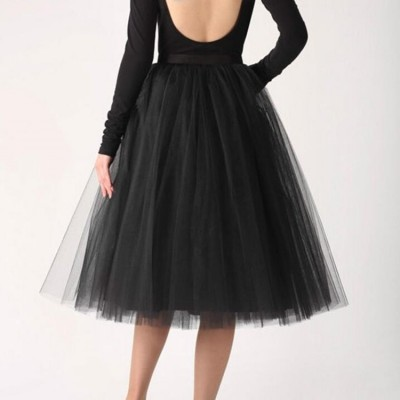 Black women's tulle stage performance ballroom dancing skirts girls ballet dance full skirt 70cm length