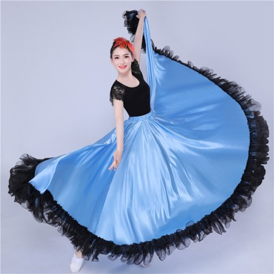 Blue Flamenco skirts women girls Spanish chinese folk dance skirts stage performance ballroom opening dance skirts