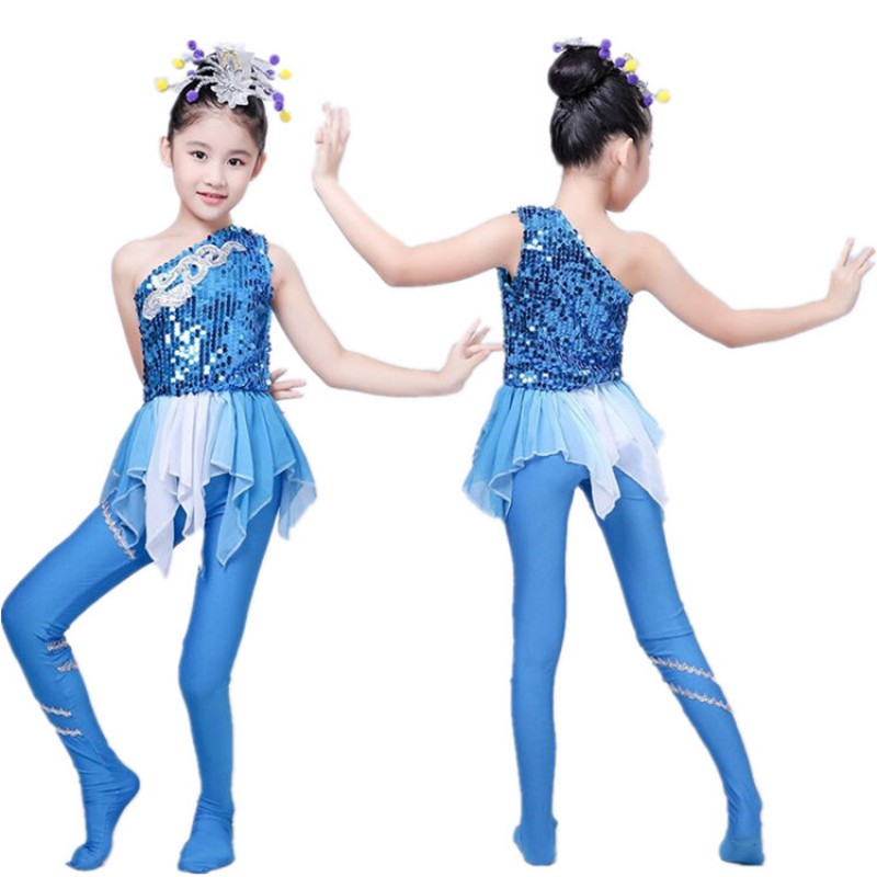 Blue jazz dance costumes stage performance modern dance mermaid fish anime cosplay water cosplay outfits dresses