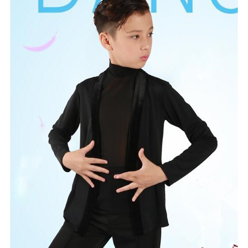 Boy black velvet latin dance shirts kids children stage performance salsa rumba chacha dance tops vest and  coats