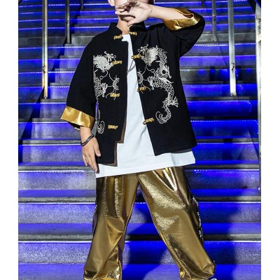 Boy china dragon style hiphop dance costumes gogo dancers rap model singers show stage performance tang suit coat and pants