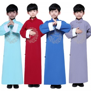 Boy chinese crosstalk suit tang suit kids comic dialog robe stage performance long gown