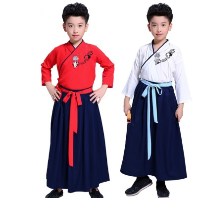 Boy Chinese folk dance costumes ancient traditional hanfu drama Confucius teaching robes dresses