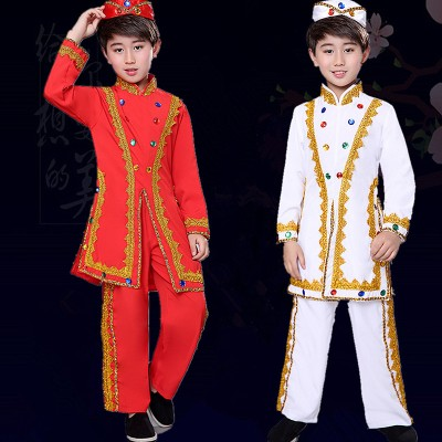 Boy chinese folk dance costumes xinjiang minority dance costumes india dance costumes