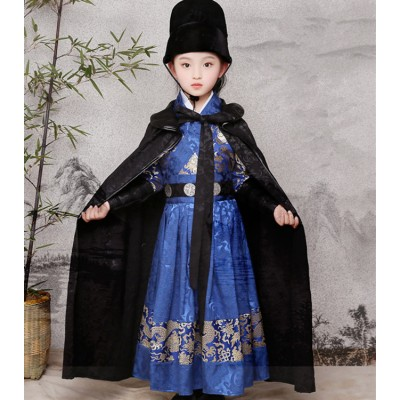 Boy chinese folk dance cosumes stage china ancient traditional  stage performance drama knight warrior swordsmen cosplay robes