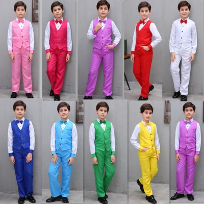 Boy host suit modern dance host costumes children's performance clothing primary secondary school students chorus performance reading outfits