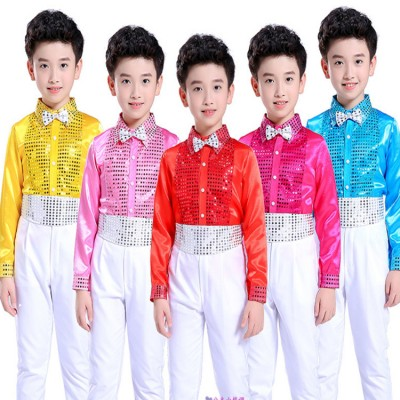 Boy jazz dance chorus singers stage performance costumes children kids kindergarten modern dance paillette shirt and pants