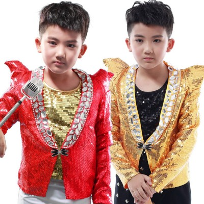 Boy jazz dance coats blazers red gold model show modern dance street dancing host chorus stage performance coats tops