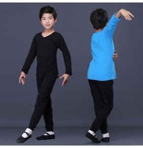 Boy kids black blue latin ballet dance shirts and pants